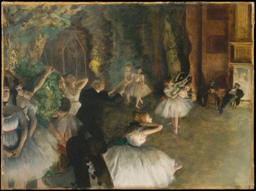 fckyeaharthistory:  Edgar Degas - The Rehearsal of the Ballet Onstage, 1874. Oil on canvas