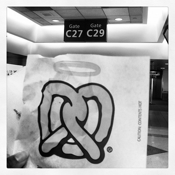 I definitely just killed a pretzel (Taken with Instagram at Philadelphia International Airport (PHL))