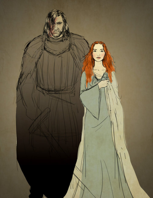 aprettylittlethingcalledlove:  Sandor and Sansa - sketch by *Emmanation