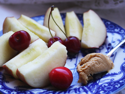 Snack: Apples with peanut butter and cherries (which are stolen goods - my mum and I picked them from a tree in a meadow) :)