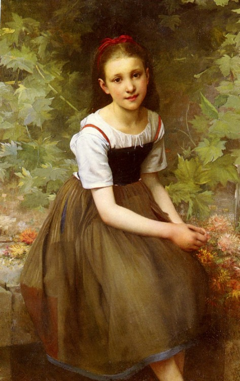 Sweet Girl in Oil Painting Art, A Girl with Flowers, Artist: Victor Thirion