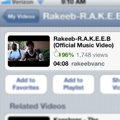 Rakeeb - R.A.K.E.E.B (Official Music Video) Search this on youtube and give it a thumbs up! 👍 Almost 2k Views!!!! (Taken with Instagram)