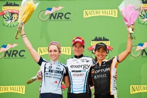 Nature Valley Grand Prix 2012 - Stage 4: The Women's Stage Podium,Photos | Cyclingnews.com 1.   Theresa Cliff-Ryan (USA) Exergy TWENTY12, 1:05:352.   Samantha Schneider (USA) TIBCO-To The Top, s.t.3.   Carmen Small (USA) Optum Pro Cycling p/b Kelly Benefit Strategies, s.t.4.   Emilia Fahlin (Swe) Specialized-lululemon, s.t.5.   Jade Wilcoxson (USA) Optum Pro Cycling p/b Kelly Benefit Strategies, s.t.6.   Heather Logan Sprenger (Can) Exergy TWENTY12, s.t.7.   Sarah Fader (USA) FCS|ROUSE p/b Mr. Restore, s.t.8.   Janel Holcomb (USA) Optum Pro Cycling p/b Kelly Benefit Strategies, s.t.9.   Lindsay Bayer (USA) Nature Valley Cycling Team, s.t.10. Jenny Rios (Mex) SC Velo - Empower Coaching, s.t.GC after Stage 41.   Carmen Small (USA) Optum Pro Cycling p/b Kelly Benefit Strategies, 2:21:442.   Amber Neben (USA) Specialized-lululemon, + 00:413.   Janel Holcomb (USA) Optum Pro Cycling p/b Kelly Benefit Strategies, + 00:434.   Jackie Crowell (USA) Exergy TWENTY12, + 00:465.   Emilia Fahlin (Swe) Specialized-lululemon, + 00:486.   Jade Wilcoxson (USA) Optum Pro Cycling p/b Kelly Benefit Strategies, + 00:517.   Denise Ramsden (Can) Optum Pro Cycling p/b Kelly Benefit Strategies, + 00:598.   Brianna Walle (USA) Nature Valley Cycling Team, + 01:049.   Leah Kirchmann (Can) Optum Pro Cycling p/b Kelly Benefit Strategies, + 01:1010. Theresa Cliff-Ryan (USA) Exergy TWENTY12, + 01:12  Stage 4 race report & full results More photos of Stage 4 on Cyclingnews