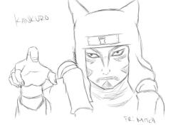 My AWESOME friend did a sketch of Kankuro for me! She is really awesome! you should go and check her out! http://hybridbro.tumblr.com/   <3
