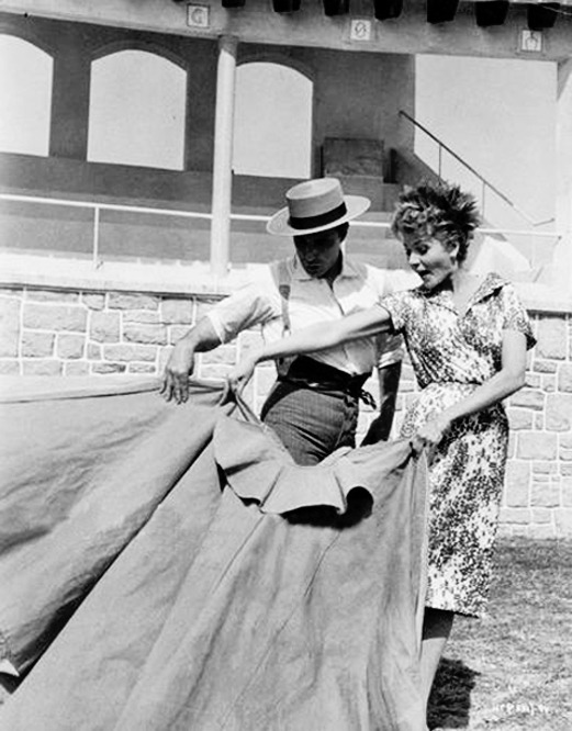 Rita Hayworth learns bullfighting, c. 1960's.