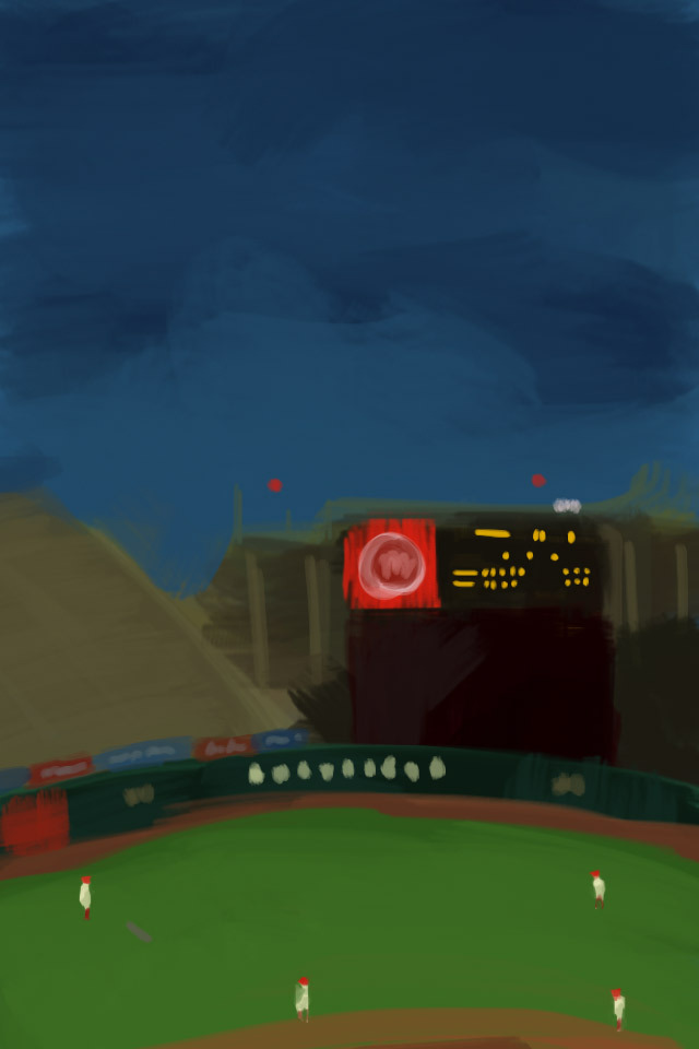 Drawing of Foro Sol, done last night during the Olmecas-Diablos Rojos game.
