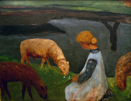 poboh:  Girl with sheep, Paula Modersohn-Becker. Germany (1876 - 1907)