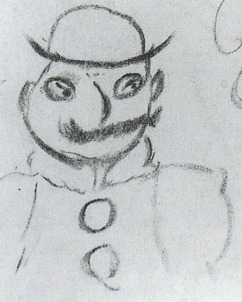 "miscellaneousparis:  James Joyce's sketch of ""Poldy"" (Leopold Bloom). I love the mustache and the bowler hat."