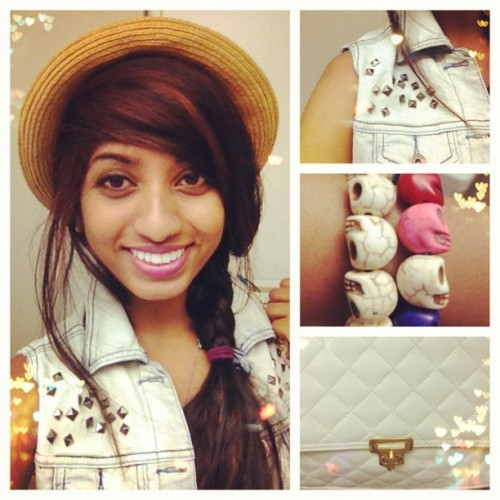 wtfyamunaomg:  OOTD June 12/12 #ootd #fashion #spikes #studs #hats #skulls #vintage #thrifting #summer #h&m #color (Taken with Instagram)