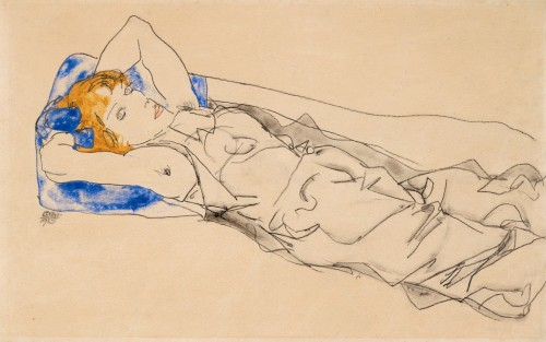 """Lying on a blue cushion with golden hair"" by Egon Schiele. Via poboh"