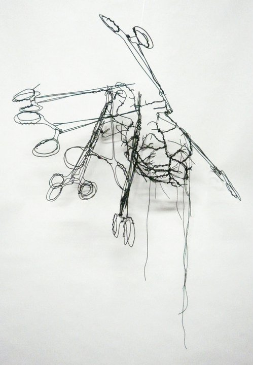 medicalstate:  A Wired Anatomy by David Oliveira. This wireframe sculpture is wonderfully vivid and evokes a sketch like quality. The cardiac surgery is intricate but trimmed down with a minimalist approach, leaving your mind to fill in the rest.