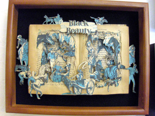 BLACK BEAUTY Book Sculpture by Kelly Campbell Berry. Available on Etsy.