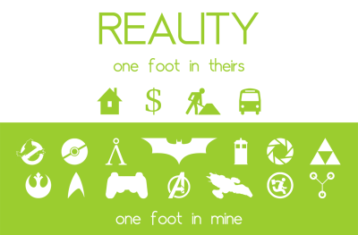 Reality. One foot in theirs, one foot in mine.