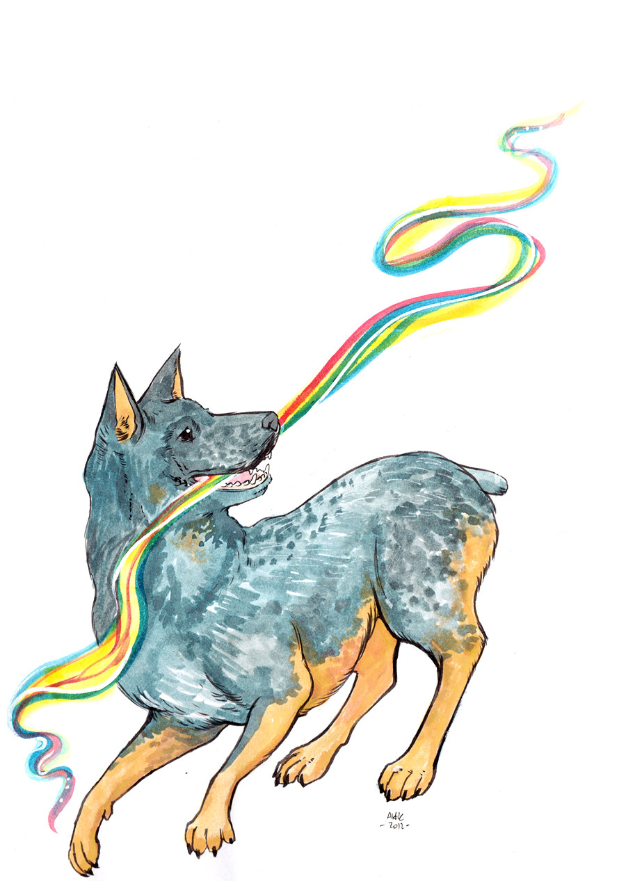 An Australian Cattle Dog. I'm sending this to someone quite special! Click to see more dog art also people and stuff.