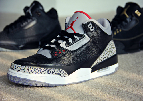 justjordans:  Air Jordan 3 Retro: Black Flip / Black Cement / BHM by Super - Secret, on Flickr