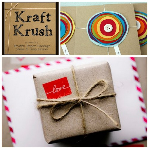 truebluemeandyou:    Roundup Forty Kraft Paper Bag Packaging Ideas Using Odds and Ends from Older and Wisor here. Photo Upper Right: Just Make Stuff here, Photo Bottom: here (not really a source).
