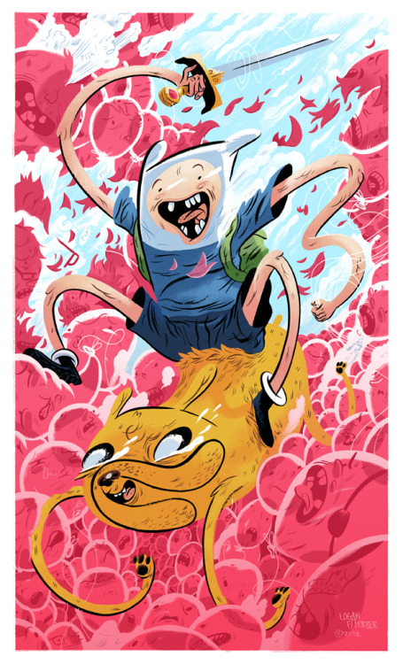 An Adventure Time piece I made for an upcoming gallery show in Chicago, IL. http://www.ohnodoom.com/ Prints available here: http://society6.com/product/Adventure-Time-qF2_Print