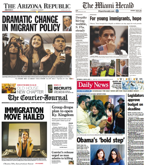 think-progress:  Newspaper front pages on Obama's new immigration policy to stop deporting DREAM-eligible youth.  If America is all you've known, even being illegal, you deserve a chance.