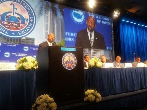 70th President of the United States Conference of Mayors, Philadelphia Mayor Michael A. Nutter.