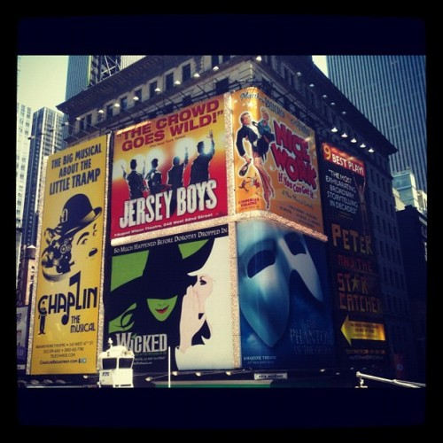 Waiting in the tkts line in Times Square!  (Taken with Instagram)