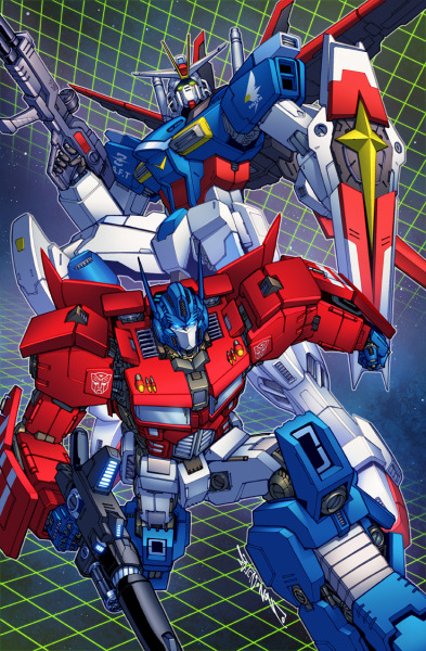 comicsforever:  Optimus Prime & ZGMF-X56S Gundam // artwork by Alex Milne and dyemooch  (2011)