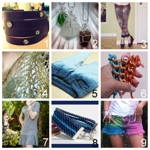 Roundup Nine DIY Jewelry and Fashion Tutorials PART ONE. Roundup of this past week in case you missed anything. June 3rd through June 9th, 2012. *For past roundups go here: trebluemeandyou.tumblr.com/tagged/roundup  DIY Rhinestone Studded Leather Cuff (Wobisobi) here. DIY Wire Wrapped Beach Glass Pendant (Gayle Bird Designs) here. DIY Galaxy Jeans (The Sun Was High) here. DIY Gold Lace Using Metallic Pigments (See Sells Sea Shells) here. DIY Ombre Bleach Dip Dyed Denim (Taby's Meow) here. DIY  Ball Chain Wrapped Bracelet (stripes + sequins) here. DIY Two Tee Shirts to Summer Dress (Trinkets in Bloom) here. DIY Multi Strand Rope Bracelet Using Ribbon Crimps (inspiration & realisation) here. DIY Multi Color Dyed Shorts the Easy Way with Spray On Dye (prêt-à-porter palm beach) here.
