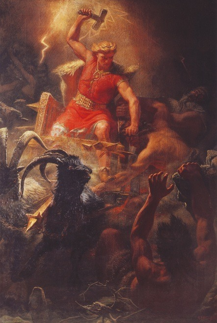 unclegrimace:  Thor's Battle Against the Jötnar (1872) by Mårten Eskil Winge
