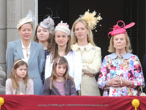 <br /> Lady Helen Taylor, Zenouska Mowatt, Lady Amelia Windsor, Lady Nicholas Windsor, HRH the Duchess of Kent and Eloise and Estella Windsor at Trooping the Colour 2012<br /> &#8221; /></p> <p><img src=