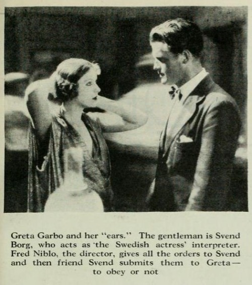 Greta Garbo with her interpreter, Photoplay magazine, August 1926. (Via)