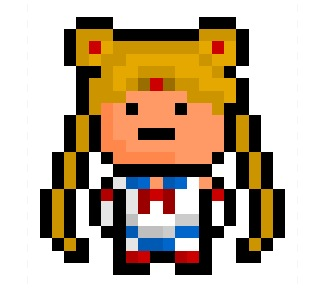 "Sailor Moon, reborn defender of the solar system, leader of the ""Sailor Senshi"" and eponymous main protagonist of the immensely popular  ""Sailor Moon"" anime / manga / live action series, now turned into her very own 20 x 21 pixel sprite.  Requested by: http://squishyapocalypse.tumblr.com"