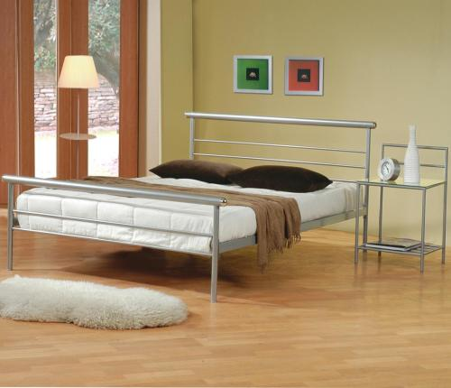 Create a casual contemporary feel in your bedroom with this queen iron bed frame. The clean horizontal lines of the silver metal headboard and footboard offer a relaxed attractive style. The simplicity of this queen metal bed frame will allow you to rest easy. Arranged with a matching metal nightstand for convenient bedside storage, this two piece set can be in your bedroom for only $209!