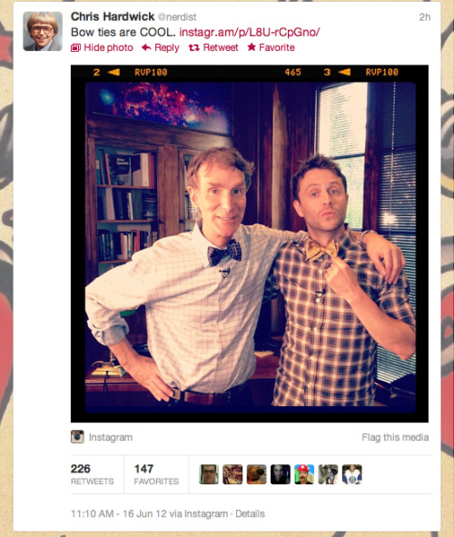 doctorwho:  Christ Hardwick and Bill Nye the Science Guy proving that bow-ties are DEFINITELY cool. Science rules.
