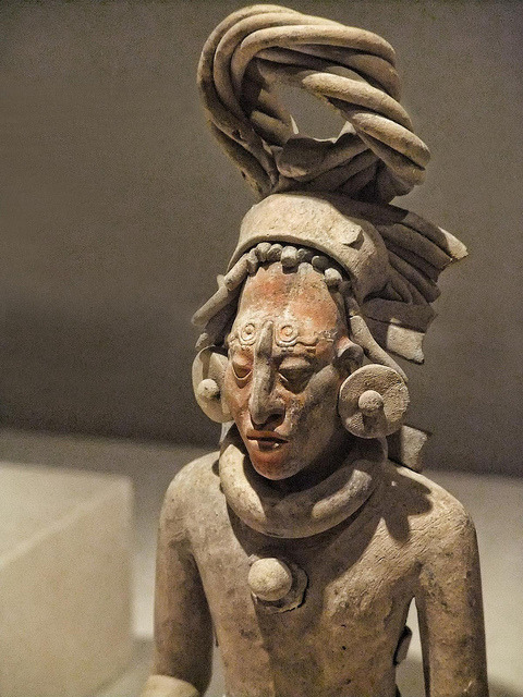 Closeup of a Figure of a Standing Warrior late Classic Maya Jaina style Campeche or Yucatan Mexico 650-800 CE Ceramic with pigment