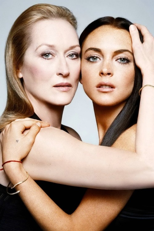 Meryl Streep and Lindsay Lohan for W Magazine May 2006