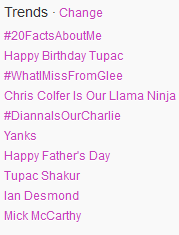 beccabooface:  Twitter trends 6/16 #WhatIMissFromGlee Chris Colfer Is Our Llama Ninja #DiannaIsOurCharlie