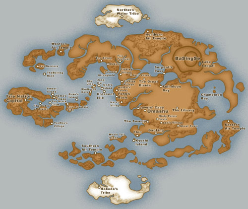 attractivegkry:  korrakingdom:  littlenutshellboat:  Map of the Avatar's world   Totally not for future reference, or anything.