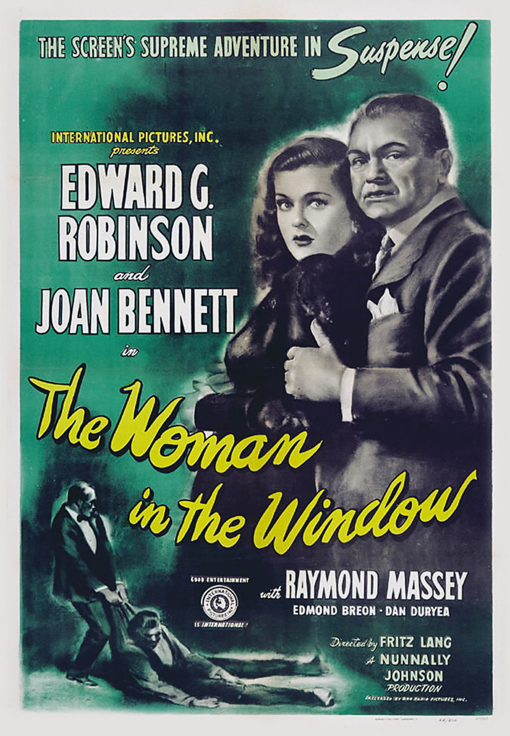 The Woman in the Window (1944) is a film noir directed by Fritz Lang that tells the story of psychology professor Richard Wanley (Edward G. Robinson) who meets and becomes enamored with a young femme fatale.