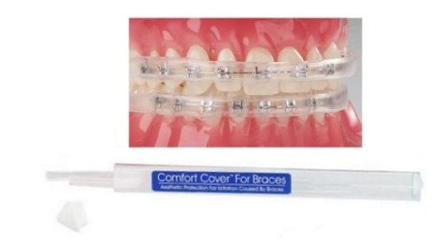 Braces hurt? Comfort Cover to the rescue! They totally cover your brackets, protecting your gums from irritation. Great for musical instruments or light sports.