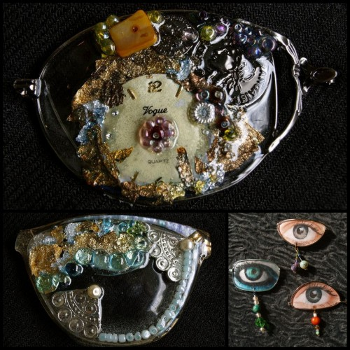 DIY Inspiration: Recycled Eyeglass Lenses Turned Into Jewelry. Jewelry from Lenio Diamant on her Facebook page here (log into Facebook and go to her albums). *First seen at recyclart.org here. In response to a question about what to do with eye glasses, I posted this response:  There are two Tutorials for Anthropologie's $498 Quite a Spectacle Necklace here: truebluemeandyou.tumblr.com/post/18460256980/diy-anthropologie-quite-a-spectacle And then I just posted wire wrapped lenses turned into pendants here: truebluemeandyou.tumblr.com/post/23154049097/diy-recycled-glasses-lens-pendant-tutorial