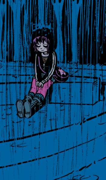 radiomaru:  rainy day ramona, reworked for Scott Pilgrim Color Edition Vol 2.  NOT FINAL ART… these are just temp colors i slopped on to give colorist Nathan Fairbairn the idea of what i wanted