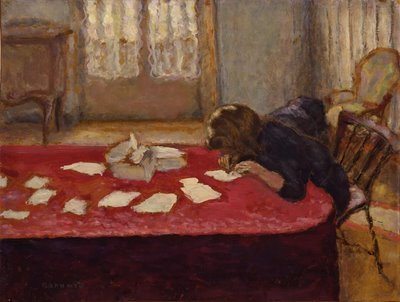 Bonnard's painting of a woman writing has wonderful rich tones and shadows.