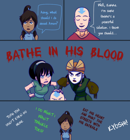 ironinkpen:  gabzilla-z:  Kyoshi and Toph would get along swimmingly, I'm sure.  Perfect yes.