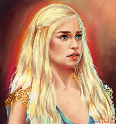 symphonikaa:  Mother of dragons! Wavy hair will never get any easier to paint.deviantarttumblr #symphonikaa