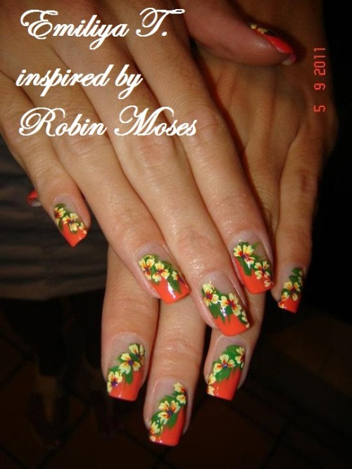 artifexdemundus:  Yellow flowers on orange chevron French Hand Painted by yours truly. Inspired by Robin Moses