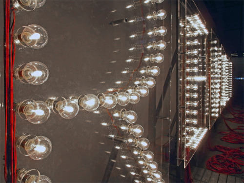 revoltage light bulb installation by raqs media collective 'revoltage' sculpture by raqs media collective, on exhibition at art unlimited at art basel 2012via: devidsketchbook