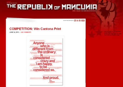 Enter Republik of Mancunia's competition to win our 'Crazy and Proud' Cantona screen print.
