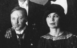Goncharova and Larionov were prominent figures in the pre-Revolutionary Moscow avant-garde, a circle in which women commanded an unusual degree of freedom and respect. Goncharova was a radical both in art and life. She and Larionov lived together for decades as an unmarried couple. (They finally married in 1955 to ensure that whoever survived the other could inherit his or her paintings.) Larionov was very interested in tattooing. He and Goncharova would paint on their own and their friends' bodies — images, or offensive words or phrases — and then parade through the wealthiest parts of the city, or sit in cafés. They were very interested in Russia's connection to Byzantine and Asian culture and were active collectors of Japanese and Chinese prints.Read more ! http://www.nysun.com/arts/who-was-natalia-goncharova/57312/