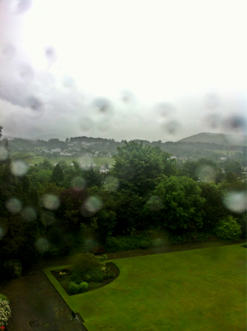 Day 287. Umbrella.   Spent the night in Keswick and this is the view from the hotel. Stupidly wet.