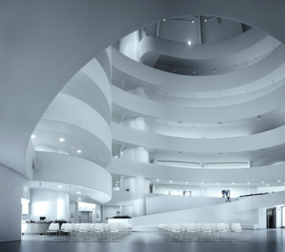 Gas chairs in the rotunda of the Solomon R. Guggenheim Museum, New York.