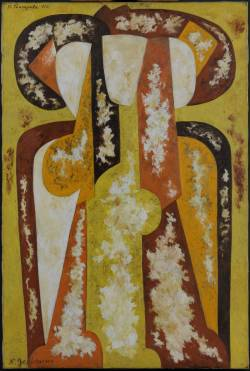 To end with Natalia Goncharova posts, here is one later work, from 1920 :Three Young Women.The apparent abstraction of this composition derives from the radically restructured forms of the three women identified in the title. Many years after its completion, the artist described it as: 'Three half-length female figures, the play of sunlight and reflections of a sandy path (yellowish orange) and orange red etc.' The fragmented forms that Goncharova favoured in earlier works were here resolved in a more stable synthesis that reflect her contribution to developments in post-First World War Paris.http://www.tate.org.uk/art/artworks/goncharova-three-young-women-n06193